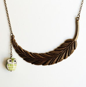 Image of Leaf & Owl Necklace