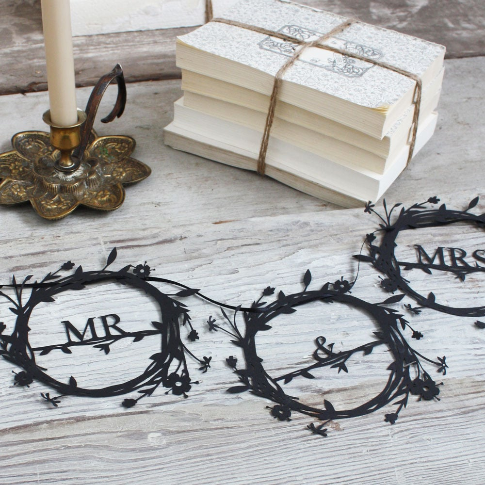 Image of Mr & Mrs Monogram Papercut Banner
