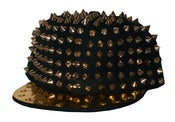 Image of Studded Spike Snapback Hat In Black