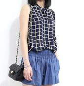 Image of Midnight Blue Check Top
