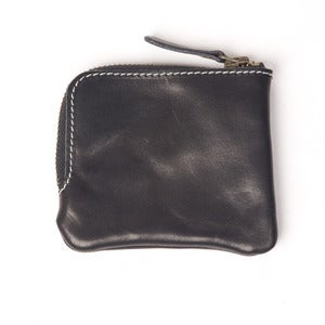 Image of Black Leather Zip Pocket Wallet