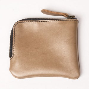 Image of Gold Leather Zip Pocket Wallet