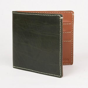 Image of Classic Leather Credit Card Wallet Green and Tan