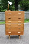Image of Vintage John & Sylvia Reid oak six drawer chest for Stag furniture (GB) c1960s
