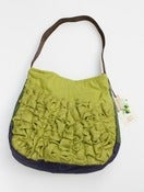 Image of a large tough ruffles shoulder bag in avocado greens
