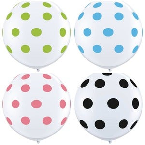 Image of 36 inch Balloons-Polka Dots on White