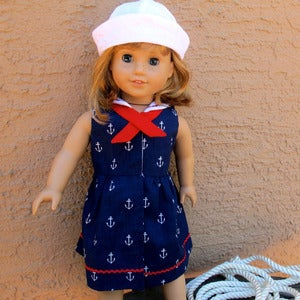 "Image of Sailor Dress and Sailor Hat sewing pattern BUNDLE for 18"" doll PDF"