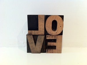 Image of VINTAGE LETTERPRESS PRINTING BLOCKS LOVE
