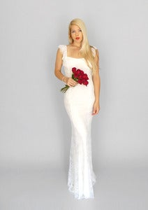 Image of Lily: Vintage lace boho gown with subtle train and low back...