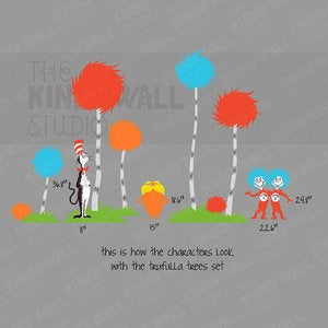 Dr seuss wall decal sticker thing 1 thing 2 removable for Dr seuss wall mural decals
