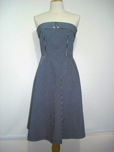 Image of 'Lucky Diamonds' dress - Blue and White Stripe Nautical - with or without straps
