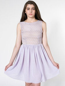 Image of American Apparel Sleeveless Lace Chiffon Dress Lilac
