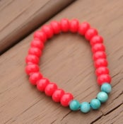 Image of mrd arm candy- red and turquoise bracelet
