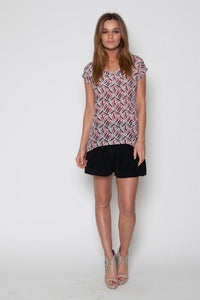 Image of Trapezoid V Neck Top with Back Detail