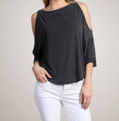 Image of M. Rena Drop Shoulder Split Sleeve Top in Black