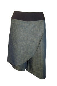 Image of Asymmetrical Skort in Various Denims