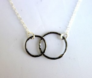 Image of Double Oxidized Circle Necklace