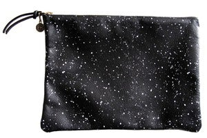 Image of Clutch- Black Leather with White Galaxy Pattern
