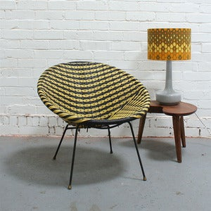 Image of Vintage Black & Yellow Basket Chair