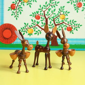 Image of Set of Three Vintage Wooden Animals - SOLD