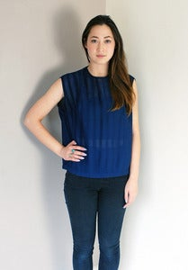Image of Vintage Navy Sleeveless Sheer Top