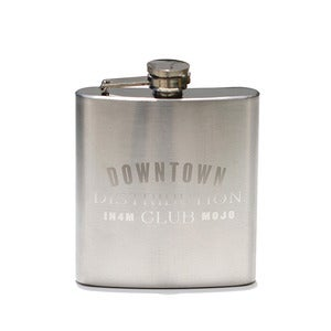 "Image of IN4MATION X MOJO BARBERSHOP FLASK ""DOWNTOWN HANDSOME DISTRIBUTION CLUB"""