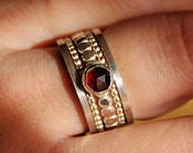 Image of BOLD- Genuine Rich Red Garnet Sterling silver Beaded/Dotted stackable, stacking rings - MADE TO ORDE