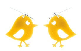 Image of Chirpy Yellow Bird Earrings