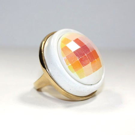 SNOW MAZE Vintage cocktail Ring