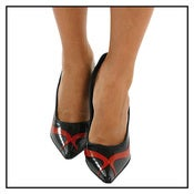 Image of Red & Black Latex Stilettos (D162/G)