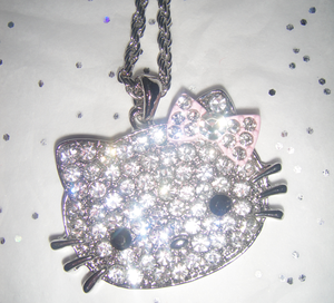 Image of hello kitty crystal diamond necklace