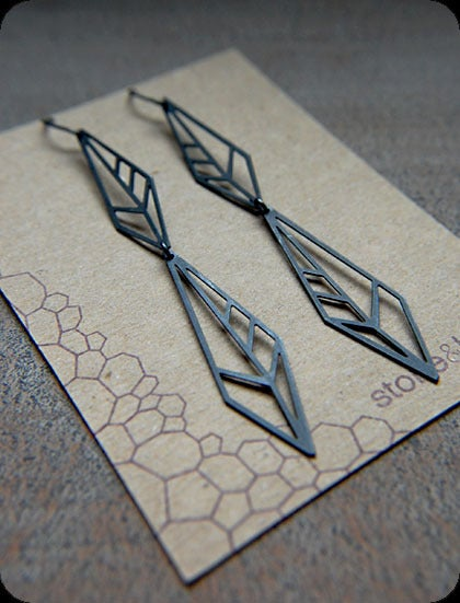 pretty please dear — stone & honey- pulse earrings :  stone amp honey oxidized silver dangle geometric