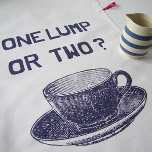 Image of One Lump or Two tea towel - plum