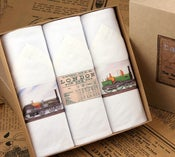 Image of Box of III Men's Handkerchiefs: Trains
