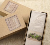Image of Man's Handkerchief in a gift Box: Green Car