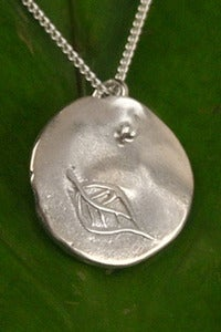 Image of Silver Medallion Necklace Leaf, Growth