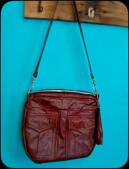pretty please dear — burgundy leather bag