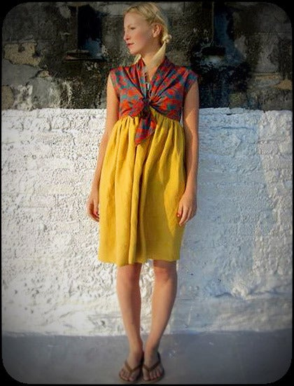 pretty please dear — tie front tumeric dress