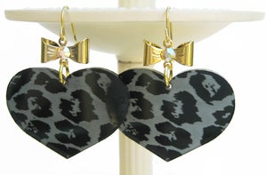 Image of Leopard Heart Earrings - Gun Metal