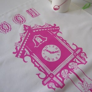 Image of Cake Time tea towel - cerise pink