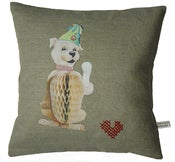 Image of Handmade cushion on natural linen and cotton  Charlie loves his bone