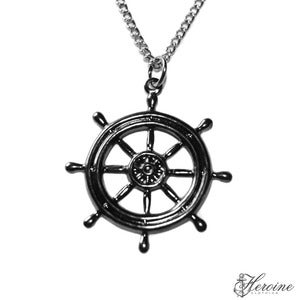 Image of Gunmetal Shipwheel Necklace
