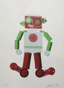 Image of Robot 4 Colour Screen print on mirror card
