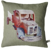 Image of Handmade cushion on natural linen and cotton  Red Vintage Truck