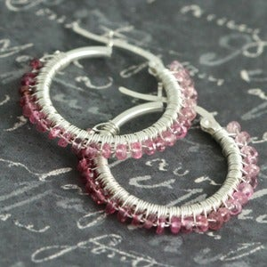 Lava Jewelry  Pink Spinel Wire Wrapped Hoop Earrings f09e002 :  pink wire wrapped hoop