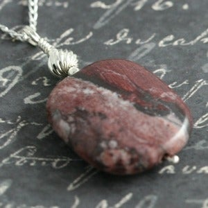 Lava Jewelry — Red Picture Jasper Pendant on Sterling Chain f09n001