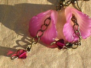 Image of Pink Tropicial Flower Earrings