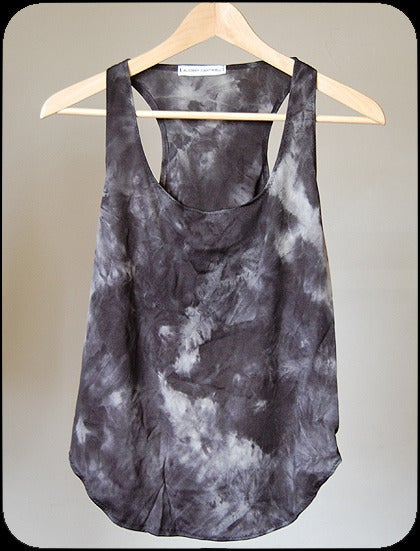 pretty please dear  audrey cantwell - high low tank :  blue racer back grey white