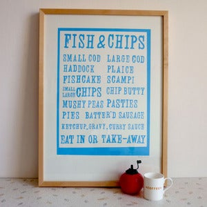 Image of Fish & Chips screenprint on paper - sky