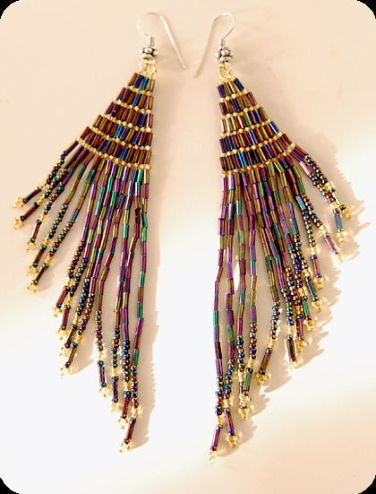 pretty please dear — jet fringe beaded earrings